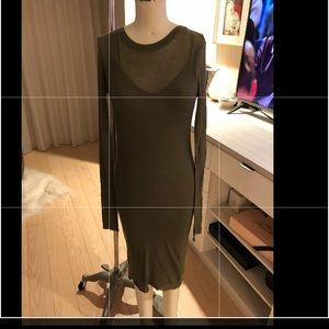 BCBG Longsleeve T-shirt dress olive green SM